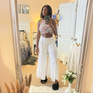 White wide leg pants with elastic waistband